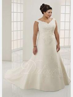 Gorgeous A-line V-neck Chiffon Plus Size Wedding Dress - Didobridal