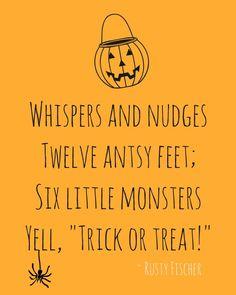 Six little monsters... A Halloween poem