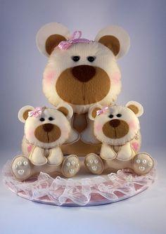 Ursinhas de feltro para decoração de festa!