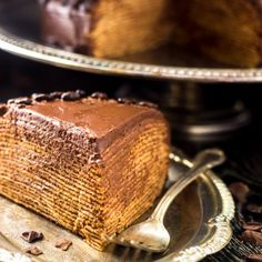 Baileys Chocolate Crepe Cake - A showstopper, that is WAY easier to make than it looks! Chocolate, Coffee, Baileys, need I say more?