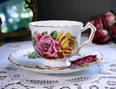 Antique Aynsley Tea Cup and Saucer Large Pink Red Yellow