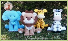Lindos animais Safari, acompanhados por moldes, gentilmente cedidos pela artesã Claudia Baron https://www.facebook.com/cl audiabaronar...