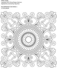 Pearl Block Variation by Sherry Rogers-Harrison Quilting Stencils, Quilting Templates, Longarm Quilting, Free Motion Quilting, Machine Quilting Patterns, Quilt Patterns, Whole Cloth Quilts, Mandala Coloring Pages, Quilling Patterns