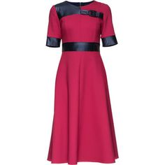 LATTORI Cherry Sweet Elegance, Short Sleeve Midi Wool Dress, Decorated With Eco Leather