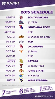 Who's ready for #KStateFB? Mark your calendars now for fall 2015!