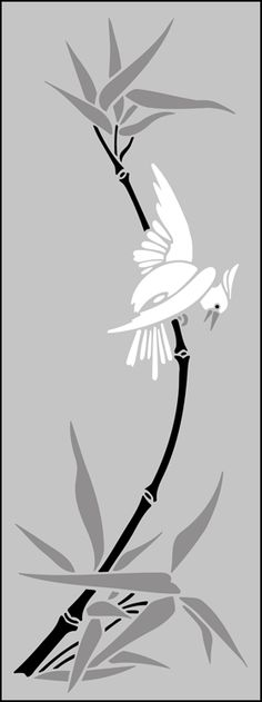 Japanese Bird & Bamboo stencils, stensils and stencles