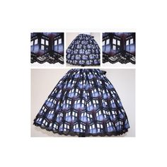 Dr Who Doctor Who Police Box Skirt for Gals All Sizes Plus Size (£29) ❤ liked on Polyvore featuring black, skirts and women's clothing