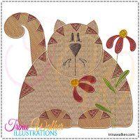 Chubby Cat 1 Machine Embroidery Design 4x4