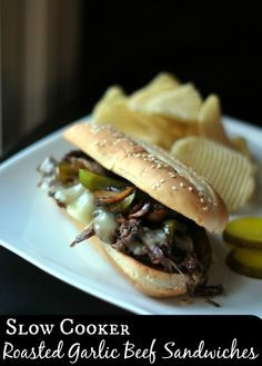 Slow Cooker Roasted Garlic Beef Sandwiches | Aunt Bee's Recipes