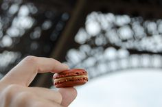 Carette's salted caramel macaron, in line for the Eiffel Tower