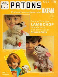 SHARI LEWIS & LAMB CHOP 1975. From a PATONS knitted or crochet pattern to make a Lamb Chop puppet. (minkshmink)