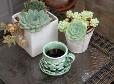 Succulent Mug 3d printed Gloss Oribe Green. Shown with matching saucer (sold separately)