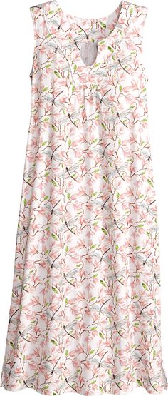 Shop this Womens Dragonfly and Magnolia Floral Print Nightgown. This silky smooth cotton knit sleeveless gown features deep notched V-neckline, piping trim, and side seam pockets. Cotton Nighties, Cotton Sleepwear, Cotton Dresses, Night Gown Dress, Nightgown Pattern, Mode Abaya, Night Dress For Women, Nightgowns For Women, Nightwear