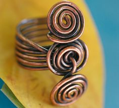 Chunky Copper Spiral Cocktail Ring II on Etsy, $35.00