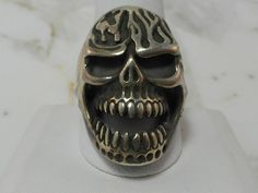 Solid Sterling Silver Goth Scull Ring by MadJacksJewelry on Etsy
