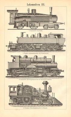 1896 Locomotives Express Locomotive Tank by CabinetOfTreasures