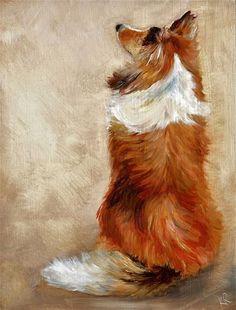 "Daily Paintworks - ""Waiting for treats"" - Original Fine Art for Sale - © Karen Robinson"