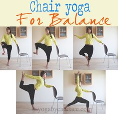 Pin it! Chair yoga for balance and strength. Wearing: F21 harem pants, BGD sweatshirt (similar)