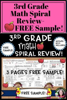 """***This is a FREEBIE SAMPLE of """"3rd Grade Math Spiral Review for Morning Work or Homework""""! The FREEBIE SAMPLE includes 3 sheets with answer keys!"""" Here's the link to 3rd Grade Daily Math Morning Work or Homework resource : 3rd Grade Math Spiral Review Free Teaching Resources, Teaching Math, Teacher Resources, Teaching Ideas, 3rd Grade Math, Third Grade, Spiral Math, Math Groups, Daily Math"""