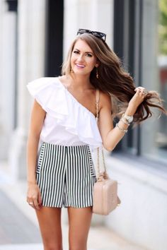 d25f226a28 white off the shoulder top and striped shorts Striped Top Outfit