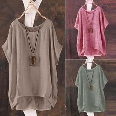 Women Summer T-Shirt Casual Plain Loose Blouse Shirt Batwing Asymmetrical Tops & Blouses Short Batwing Sleeve. -O Neck. Plus Size Shirts, Plus Size Blouses, Loose Shirts, Loose Tops, T Shirts, Kaki Shirt, Baggy Tops, Style Casual, Women's Casual