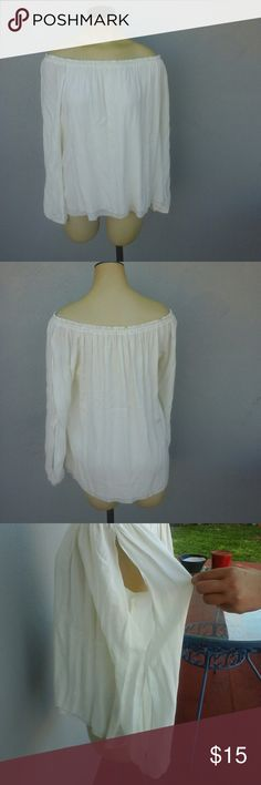 Sanctuary off the shoulder top Brand new without tags. Cute off white long sleeve. 2 slots on the arms to create a keyhole look. Sanctuary Tops Blouses