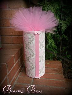 Headband Holder Bow Stand with Interior Storage in Taupe Brown and Pink Damask with Tutu Topper. $20.00, via Etsy.