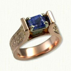 Meghan with Dragon & Celtic Cross Engagement Ring set with a Radiant-Rectangular Cut Blue Sapphire - Available In All Metals and Sizes Celtic Engagement Rings, Engagement Ring Settings, Rose Gold Jewelry, Jewelry Rings, Diamond Gemstone, Rose Gold Plates, Blue Sapphire, Heart Ring, White Gold