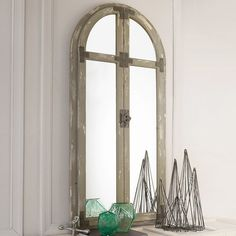 Check out Distressed Arched Wood Mirror from Shades of Light