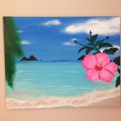 Hand Painted Tropical Paradise Painting 16x20 Tropical Paradise painting of an ocean beach with palm trees and a hibiscus flower. Hand painted on a hangable canvas with acrylics so it's nice and bright and won't crack over time. I also do other custom paintings, so feel free to check my page for my other art work!(: Other