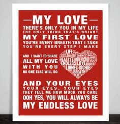 Lionel Richie Endless Love Music Song Lyric Print Poster Art Heart Wedding