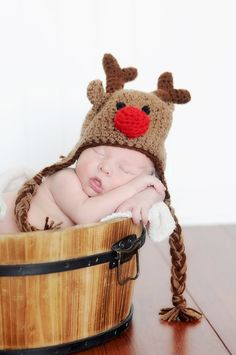 Rudolph the Red Nose Reindeer Crochet Baby Christmas Hat on Etsy, $27.00