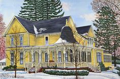 Winter Gallery - Artist Thelma Winter - Spindle Porch - North Collins, NY (Powered by CubeCart) Winter Painting, Winter Art, Kitsch, Color Pencil Art, Colored Pencils, Home Art, Farmhouse, Landscape, House Styles