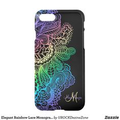 Elegant Rainbow Lace Monogram Black iPhone 7 Case