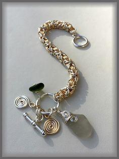 Chunky Silver & Gold Byzantine Sea Glass Bracelet, $40.00