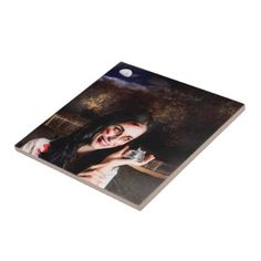 #Spooky girl with silver service bell in graveyard ceramic tile - #Halloween happy halloween #festival #party #holiday