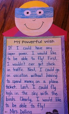 /opinion writing- which super power would you have and why is it the best?-AH// If I was a super-hero or if I had a special power. to go with super-hero theme Kindergarten Writing, Teaching Writing, Writing Activities, Literacy, Kids Writing, Writing Ideas, Superhero Kindergarten, Kindergarten Orientation, Teaching Ideas