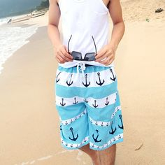 P.S. I Love You More Boutique | Men's Let's Sail Away Swim Shorts | www.psiloveyoumoreboutique.com