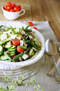 Green Bean Salad w/ Fresh herbs, tomatoes, and feta from @Patty Markison Price / Patty's Food. Perfect for a 4th of July or summer pool party side dish!