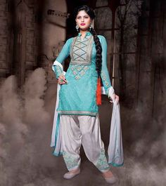 Heavenly Sky blue and White Patiyala Suit