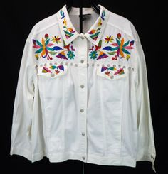 Carole Little Colorful Embroidered Floral White Cotton Denim Jacket 20W 1X/2X #CaroleLittle #BasicJacket