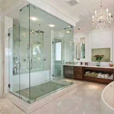 glass shower || would be such a pain in the ass to keep clean! But I still want it. I kind of like it in the middle of the room too ;)