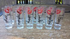 Bridesmaids shot glasses bachelorette favors by madebytheresarenee, $4.75