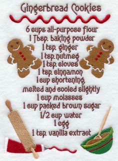 Gingerbread Cookies Recipe  Embroidered Flour by NufnufCreations