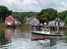 """""""Cape Porpoise Afternoon"""" - by photographer, Beth Benjamin on fineartamerica.com: A picturesque fishing village near Kennebunkport, Maine, Cape Porpoise is a low key, but popular Maine escape. The colors and subject of this image make it a popular gift for anyone who loves boating, the water or Maine."""