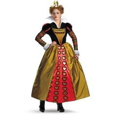 Womens BuySeasons Alice In Wonderland Movie Deluxe ($59) ❤ liked on Polyvore featuring costumes, red, tops & tees, tim burton alice in wonderland costumes, adult women halloween costumes, womens costumes, adult women costumes and alice in wonderland adult costume
