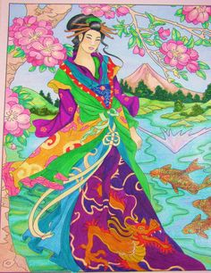 Japanese godess Konohana Sakuya, she is the gaurdian of flowers, and trees, and is said to preside over Mt. Fuji, preventing it from erupting. Colored with Crayola's, Prisma colored pencils, some Tom Bow markers. From Dover's coloring book Godesses.