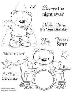 Huge selection of card craft supplies Kanban clear rubber stamps - Woolly Bears - Make a Noise Colouring Pages, Coloring Books, Kanban Crafts, Cardmaking And Papercraft, Card Sentiments, Copics, Digital Stamps, Clear Stamps, Clipart