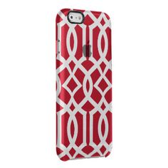 Trendy Red and White Moroccan Trellis Pattern Uncommon Clearly™ Deflector iPhone 6 Case