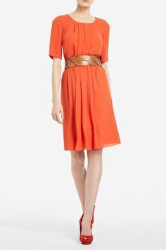 BCBG Pleat Front Chiffon Dress